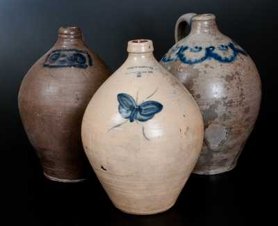 Lot of Three: Ovoid Stoneware Jugs incl. JULIUS NORTON w/ Butterfly and Two Early NY/NJ Examples