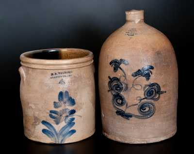Lot of Two: Canadian Stoneware Jugs, JOLIETTE Advertising and WELDING / BRANTFORD Example