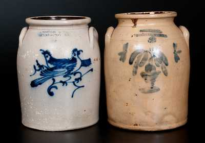 Lot of Two: Stoneware Jars incl. J. NORTON & CO. Double Bird Jar