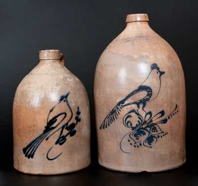 Lot of Two: Stoneware Jugs w/ Bird Decorations incl. E. & L. P. NORTON Example