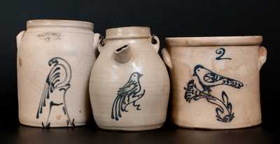Lot of Three: Stoneware Vessels w/ Bird Decorations incl. WHITES UTICA Example