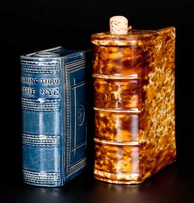 Lot of Two: Rockingham Ware Book Flasks incl. Fine Cobalt Example att. Jeffords Pottery, Philadelphia, PA