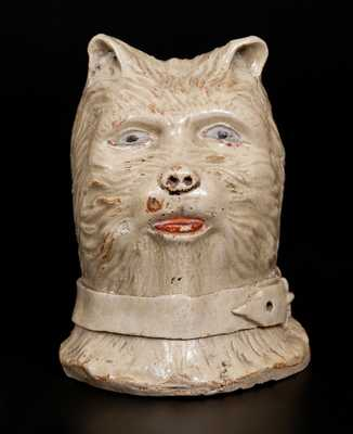 Cold-Painted Stoneware Terrier's Head Bank