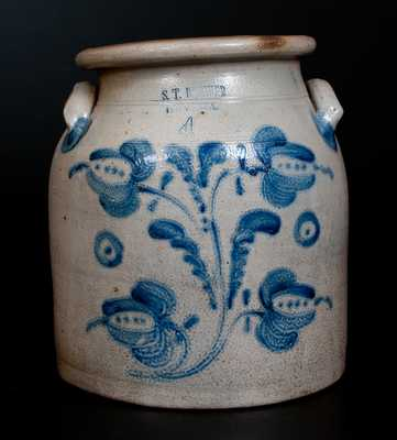 4 Gal. S.T BREWER / HAVANA Stoneware Jar with Profuse Cobalt Floral Decoration