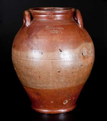 Scarce BOSTON / 1804 Dated Stoneware Jar with Iron Oxide Decoration