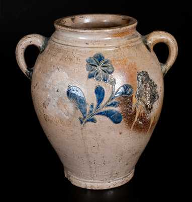 Very Rare Vertical-Handled Manhattan Stoneware Jar w/ Green and Blue Incised Floral Decoration
