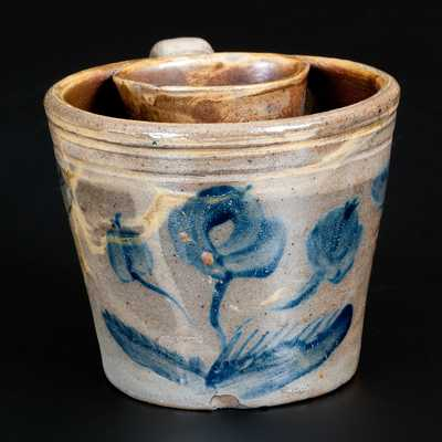 Very Rare Stoneware Shaving Mug with Cobalt Floral Decoration