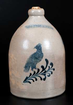 Rare NORTH BAY (John Waelde, North Bay, NY) Stoneware Jug with Stenciled Bird Decoration