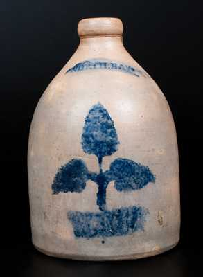 Rare NORTH BAY (John Waelde, North Bay, NY) Stoneware Jug with Stenciled Potted Plant Decoration