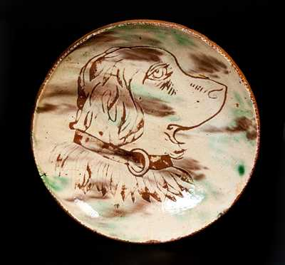 Jacob Medinger, Montgomery County, PA Sgraffito Redware Plate w/ Dog's Head Design
