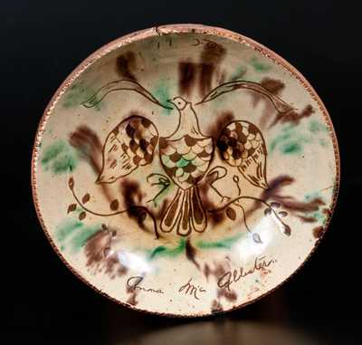 Jacob Medinger, Montgomery Co, PA Sgraffito Redware Plate w/ Patriotic Eagle, Inscribed