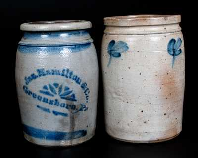 Lot of Two: Stoneware Jars, JAS. HAMILTON / GREENSBORO, PA and Baltimore, MD