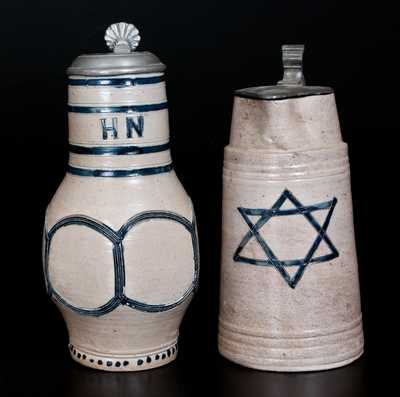 Lot of Two: German Stoneware Vessels with Incised Decoration incl. Pitcher w/ Star of David