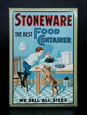 STONEWARE THE BEST FOOD CONTAINER Tin Advertising Sign by American Art Works, Coshocton, OH