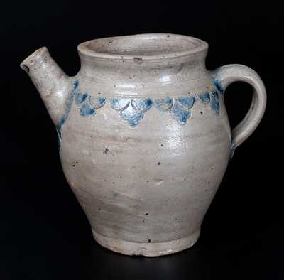 Manhattan / NYC Stoneware Spouted Vessel w/ Elaborate Impressed Drape Decoration, fourth quarter 18th century