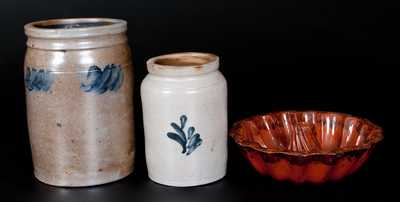 Three Pieces of Utilitarian Pottery, American, 19th century
