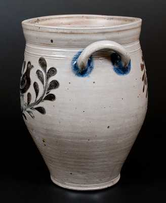 Rare Three-Gallon Manhattan Stoneware Jar w/ Incised Bird Decoration, c1795