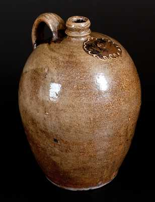 Edgefield, SC Stoneware Jug with Two-Color Slip Decoration, attrib. C. Rhodes Manufactory, circa 1850