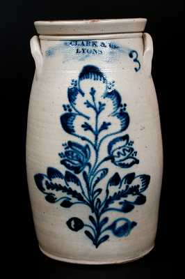 N. CLARK & CO / LYONS Stoneware Churn with Elaborate Cobalt Floral Decoration