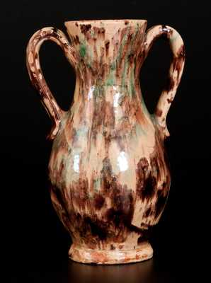Exceptional BAECHER / WINCHESTER Polychrome Redware Handled Vase