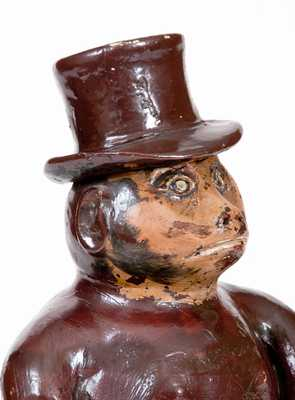 Large-Sized Stoneware Drunken Monkey Figure, Southern or Midwestern, circa 1885
