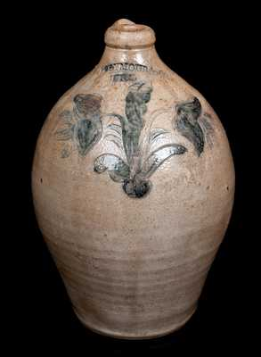 Fine I. SEYMOUR & CO. / TROY Stoneware Jug w/ Incised Floral Decoration, c1823-28