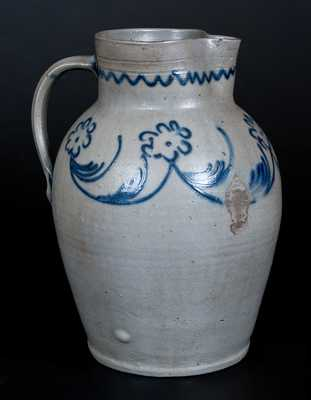 Scarce Baltimore Stoneware Pitcher with Slip-Trailed Floral Decoration, c1820