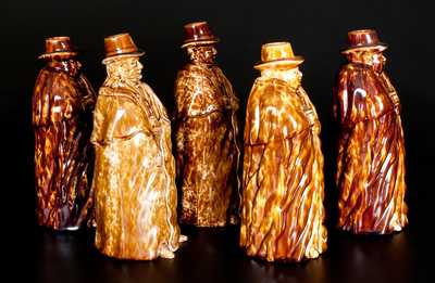 Five Rockingham-Glazed Coachman Bottles, Lyman, Fenton & Co., Bennington, VT, circa 1849-58