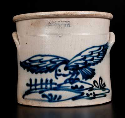 J. & E. NORTON / BENNINGTON, VT Stoneware Crock with Cobalt Flying  Hawk Decoration