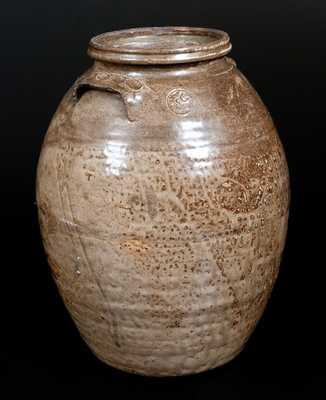 Very Unusual Isaac E. Gay, Kershaw County, SC Alkaline-Glazed Stoneware Jar