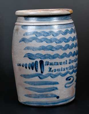 Exceptional Samuel Booker / Louisville, KY Stoneware Jar with Profuse Cobalt Decoration