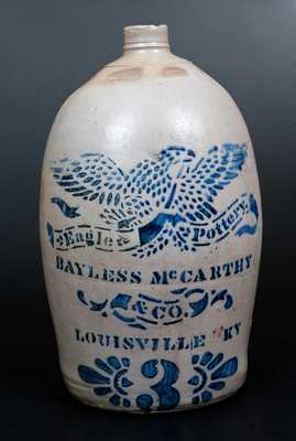 Exceptional BAYLESS & MCCARTHEY / LOUISVILLE, KY Stoneware Jug, Marked EAGLE POTTERY