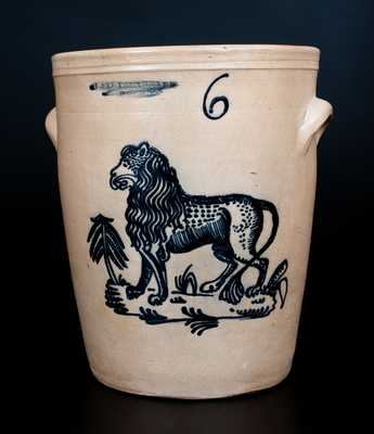 Exceptional F. STETZENMEYER / ROCHESTER, NY Stoneware Crock w/ Detailed Lion Decoration