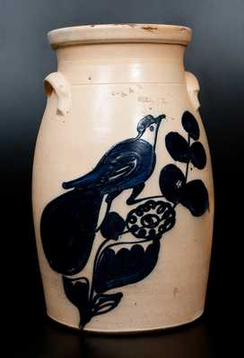 3 Gal. N. A. WHITE & SON / UTICA, N.Y. Stoneware Churn with Bold Paddletail Bird Decoration
