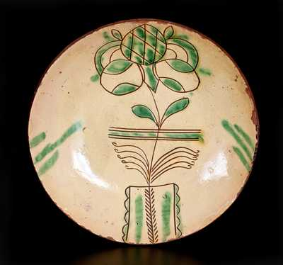 Fine Sgraffito-Decorated PA Redware Plate w/ Flowering Urn, possibly H. Roadebush, Montgomery Co, PA