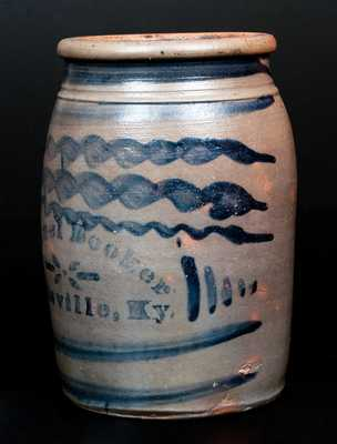 One-Gallon Samuel Booker / Louisville, Ky. Stoneware Advertising Crock w/ Seven Stripes Decoration