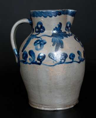 Rare 3 Gal. Baltimore Stoneware Pitcher with Floral Vine Decoration, c1825