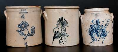 Lot of Three: Stoneware Crocks, WHITES UTICA, W.HART, and N. BALLARD