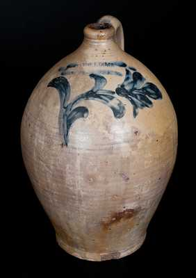 Important D. WILLIAMS / POUGHKEEPSIE Stoneware Jug w/ Incised Floral Decoration, Durrell Williams, 1815-20