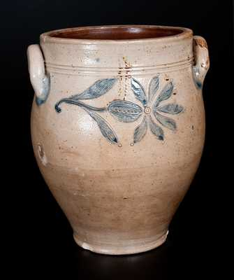 Fine Probably Peter Cross, Hartford, CT Stoneware Jar w/ Incised Floral Decoration