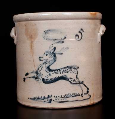 J. BURGER JR. / ROCHESTER, NY Five-Gallon Stoneware Deer Crock
