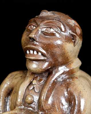 Important J. L. Mathews, Rock Mills, AL, 1890-1910 African American Stoneware Figural Face Bank