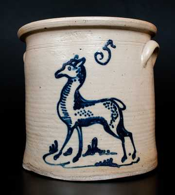 Outstanding Five-Gallon  PENN YAN, NY Stoneware Crock with Cobalt Fawn / Deer Decoration