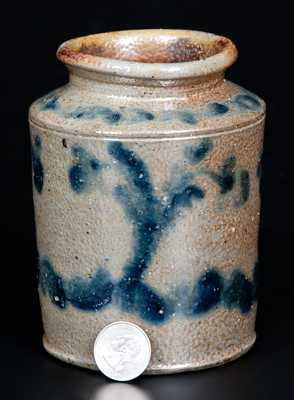 Rare One-Quart Stoneware Jar with Profuse Brushed Decoration att. Branch Green, Philadelphia, PA, circa 1820