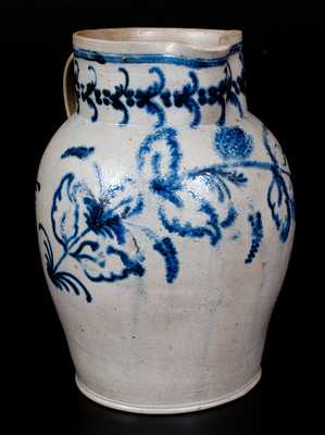 Exceptional Baltimore Stoneware Pitcher w/l Slip-Trailed Foliate Decoration, c1820