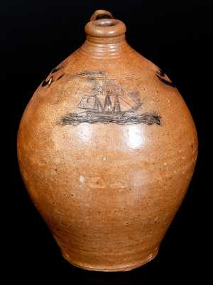 Exceedingly Rare Stoneware Jug w/ Incised Ship, attrib. Crolius, Manhattan, NY, circa 1810-20