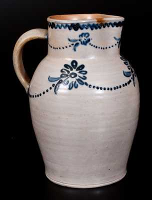 Rare Baltimore Stoneware Pitcher with Cobalt Daisy Decoration, attrib. Morgan / Amoss, c1820-25