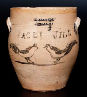 Unique CLARK & FOX / ATHENS, NY Stoneware Jar w/ Cobalt Chickens Inscribed