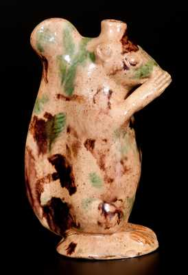 Rare Moravian Redware Squirrel Bottle, Rudolph Christ, Salem, NC, early 19th century