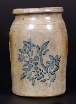 Stoneware Jar with Cobalt-Stenciled Floral Design, Western PA origin, circa 1875